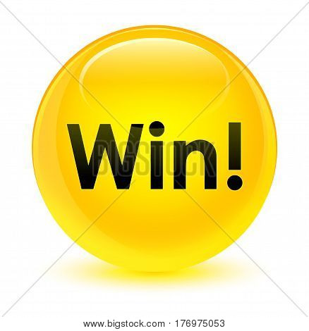 Win Glassy Yellow Round Button