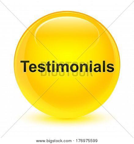 Testimonials Glassy Yellow Round Button