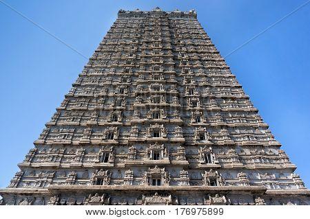 Beautiful high tower with a height of 184 meters.Raja Gopuram Tower. Murudeshwar. Karnataka India. Attraction and Gokarna excursion from Goa.