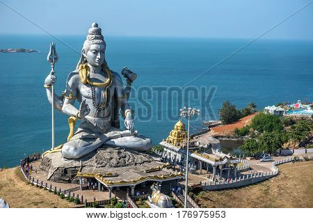 Lord Shiva Statue in Murudeshwar Karnataka India. Tour from Goa and Gokarna. Big Shiva.