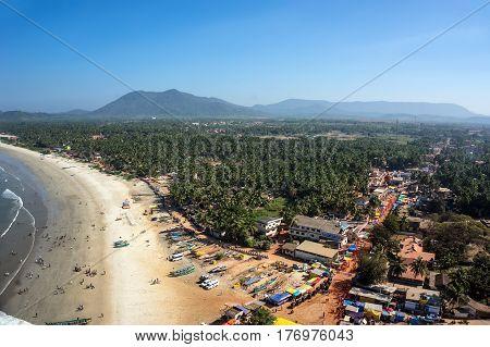 View of the beach from the tower-gopuram in Murudeshwar Karnataka India.