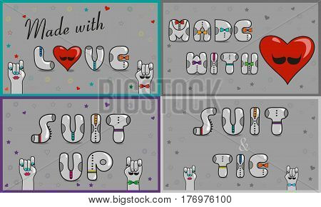 Cards with inscriptions. Made with love. Suit and tie. Suit up. Vintage font. Sale. Gray retro letters with colorful ties. Pink numerals. Cartoon hipster hands. illustration