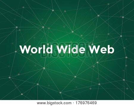 world wide web white text illustration with green constellation map as background vector