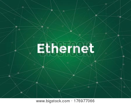 ethernet white text illustration with green constellation map as background vector