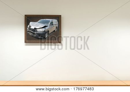 Car crash from car accident on the road in a city car pickup wait insurance wall and decorative frame,picture frame