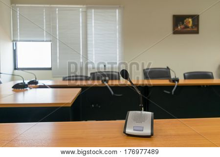 Microphone of conference hall and room background