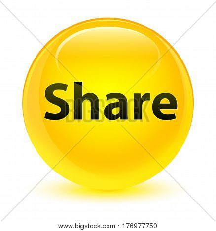 Share Glassy Yellow Round Button