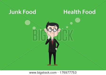 illustration of a man wearing spectacles confuse to make decision between eating junk food or health food vector