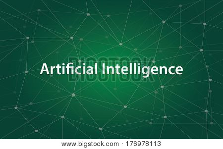 artificial intelligence white tetx illustration with green constellation map as background vector