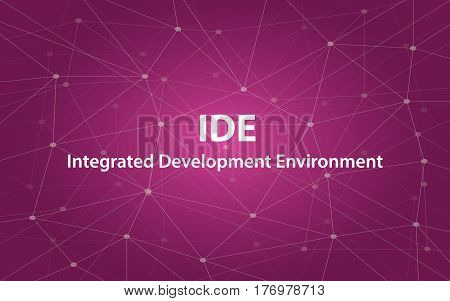 ide integrated development environment white text illustration with purple constellation map vector