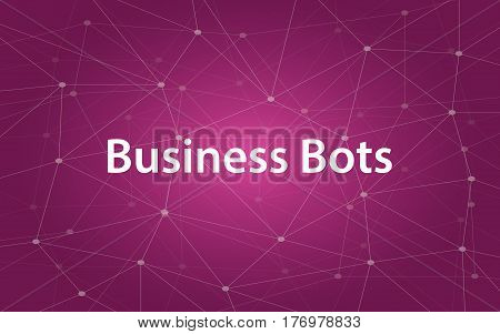 business bots white tetx illustration with purple constellation map as background vector
