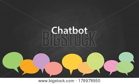 chatbot white text illustration with colourful callouts and black background vector