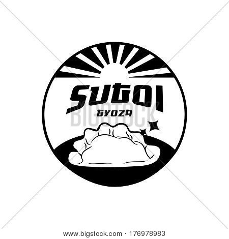 sugoi gyoza japanese food round logo design with sun rise