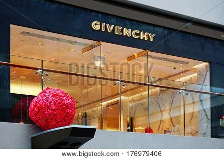 Singapore, Singapore - February 10, 2017: Givenchy shop at the Marina Bay Sands Shoppes, decorated for China New Year, on sunny day in Singapore.
