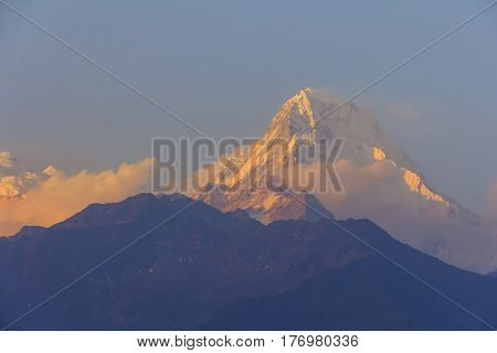 Annapurna South mountain with sunset view from Gorepani famous trekking destination in Nepal.