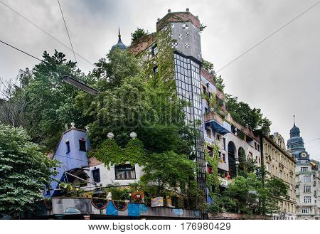 Hundertwasser Haus In Vienna At Cold Rainy Day. Austria