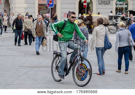 Tourist On A Bicycle At Vienna Streets. Austria