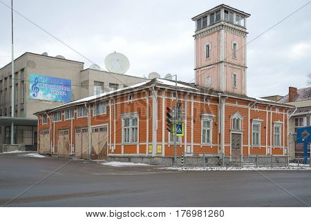 SORTAVALA, RUSSIA - FEBRUARY 18, 2017: The od wooden building of the firehouse, cloudy February day