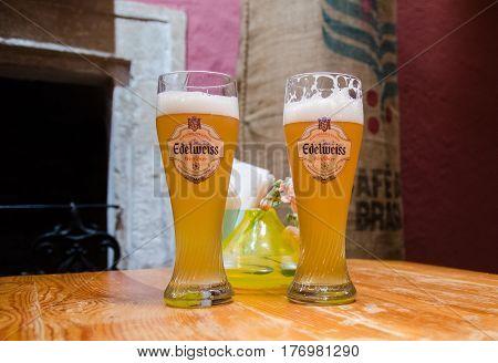 VIENNA AUSTRIA - JUNE 13 2012: Edelweiss Weissbier in Vienna`s Pub