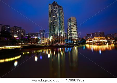 Rivers With City Modern Architecture Background Night