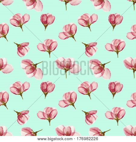 Apple blossoms. Texture of flowers. Seamless pattern for continuous replicate. Floral background photo collage for production of textile cotton fabric. For use in wallpaper covers.
