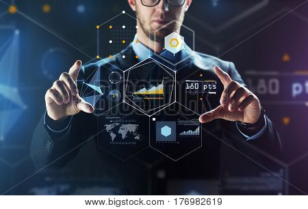 business, people, technology and cyberspace concept - close up of businessman in suit working with virtual reality screen and virtual screen projection over black background