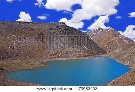 Sacred Lake of Chandra Tal in the High-Altitude Mountain Desert of the Himalayas, Ladakh District, Northern India
