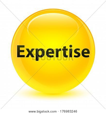 Expertise Glassy Yellow Round Button