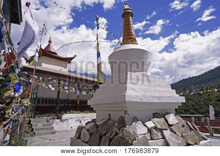 Ancient Buddhist Stupa in the High-Altitude Mountain Region near the village of Kalpa, Kinnaur Valley, Northern India.