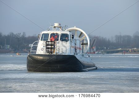 SAINT PETERSBURG, RUSSIA - MARCH 12, 2017: Rescue hovercraft EMERCOM of Russia Khivus-20 on the frozen Neva on a March day
