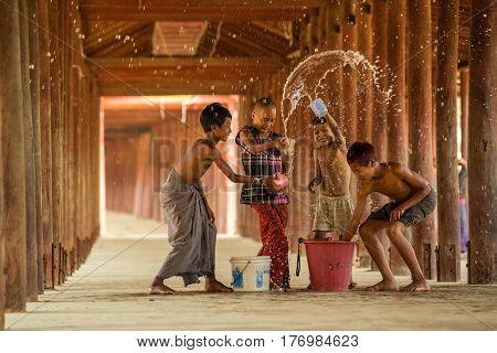 March 10 2016 SalayMandalay Myanmar Burmese children are Songkran fun and exciting.