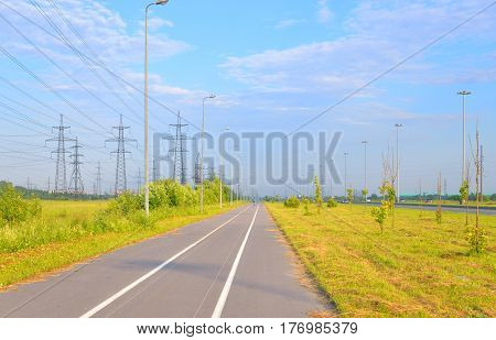 Bike path summer sunny day on outskirts of St.Petersburg Russia.