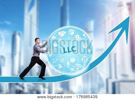 Technology, The Internet, Business And Network Concept. A Young Businessman Overcomes An Obstacle To