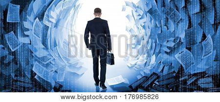 Office worker goes in passage between the walls of paper documents. Young businessman in suit with briefcase is finding exit from information whirlwind. Businessman finds a solution to the problem of hard office work.