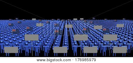 Crowd of people with signs and New Zealand flags 3d illustration