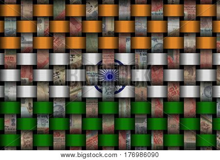 Interwoven flag and currency 3d illustration