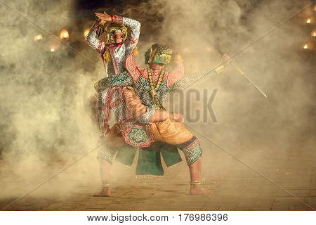 Khon Thai The fighting Hanuman with kumarakorn in the Ramayana story this the best Thai dancing In Thailand culture