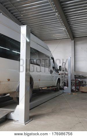Kaluga, Russia - March, 16, 2017: Interior of a car repair station in Kaluga