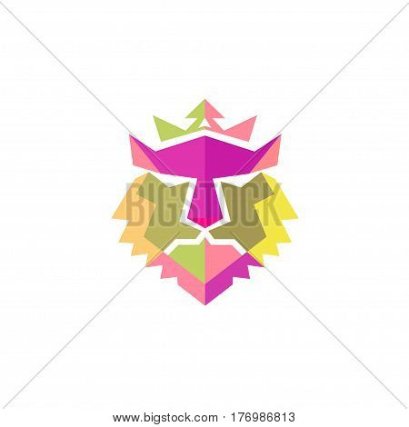 Lion head crown full color vector- vector Lion head sign concept illustration. Lioking with crown logo. Wild lion head graphic illustration. Design elemen