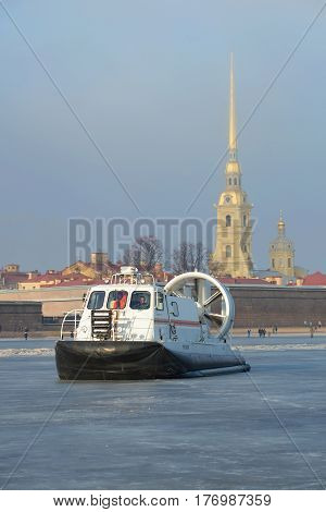 ST. PETERSBURG, RUSSIA - MARCH 12, 2017: The rescue boat of Emercom of Russia