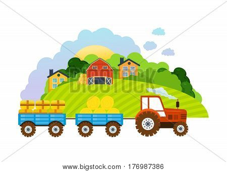Farm and farmland, the village with gardens, greenery, harvest and grain, hay, organic products. Collection and transportation of crops, hay and products on tractor. Vector illustration.