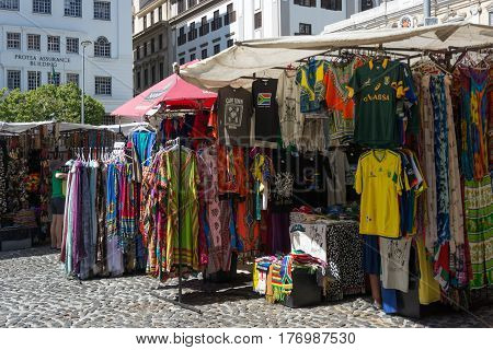 Cape Town South Africa - March 02 2017: Traders from across the African continent selling their wares from colourful stalls at Greenmarket square in Cape Town.