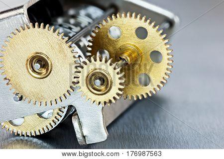 Mechanical Metal Brass Gearwheels. Scoreboard Mechanism.