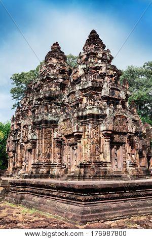 Banteay Srei red sandstone temple, Cambodia
