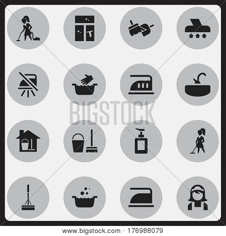 Set Of 16 Editable Dry-Cleaning Icons. Includes Symbols Such As Washing Glass, Floor Dusting, Notice And More. Can Be Used For Web, Mobile, UI And Infographic Design.