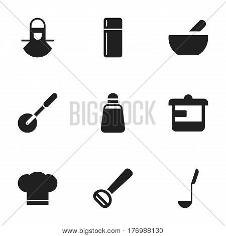 Set Of 9 Editable Cooking Icons. Includes Symbols Such As Paprika, Soup, Husker And More. Can Be Used For Web, Mobile, UI And Infographic Design.