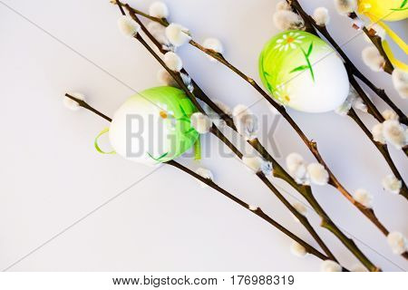 easter background with colored eggs, pussy willow branches and copy space