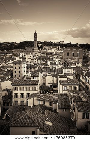 City skyline in Florence rooftop view in Italy in BW