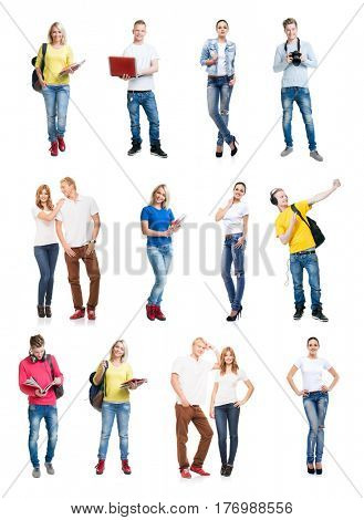 Group of happy students. Collection set isolated on a white backgound.