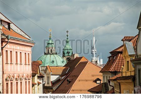 Beautiful view of the roofs of houses in the old town of Prague.